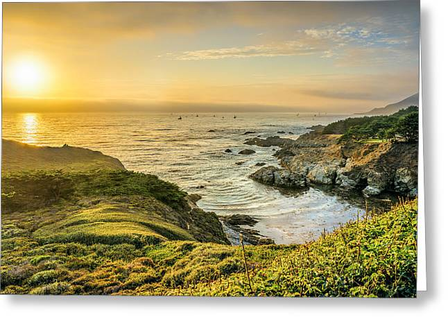 Big Sur Greeting Cards - Sun Setting at Big Sur Greeting Card by James Udall