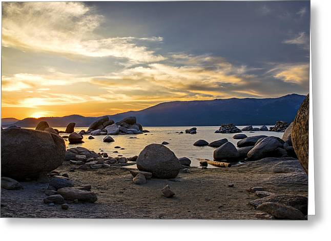 Exposure Greeting Cards - Sun Setting Greeting Card by Maria Coulson