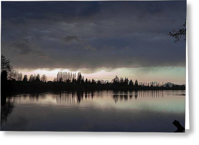 Tree Reflection At Sunset Greeting Cards - Sun Setting on the Skagit River Greeting Card by David Patterson