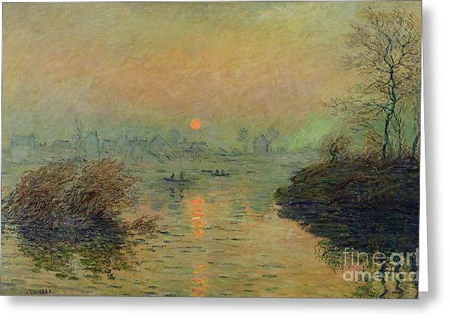 Orange Sky Greeting Cards - Sun Setting over the Seine at Lavacourt Greeting Card by Claude Monet