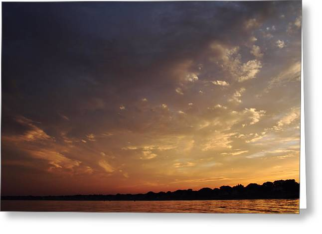 Colorful Cloud Formations Greeting Cards - Sun Settles on Connecticut Greeting Card by Karol  Livote