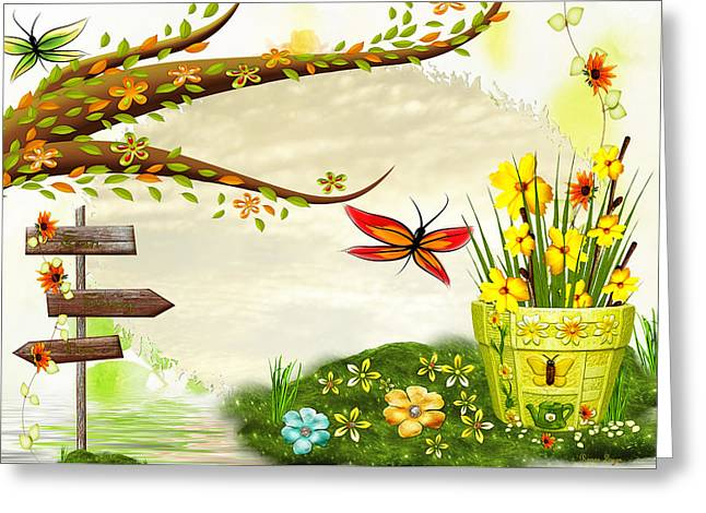 Garden Scene Mixed Media Greeting Cards - Sun Shiney Day Whimsical Greeting Card by Sharon and Renee Lozen