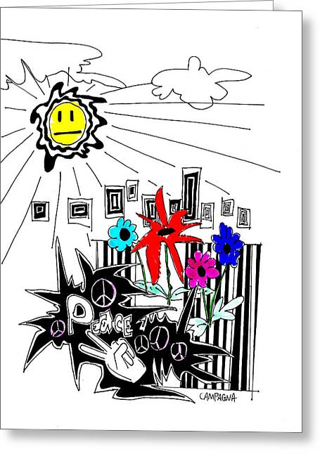Fine Line Drawings Greeting Cards - Sun Shiny Day Greeting Card by Teddy Campagna