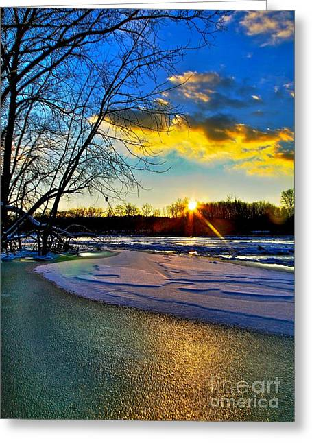 Snow Scene Landscape Mixed Media Greeting Cards - Sun Snow Ice Greeting Card by Robert Pearson