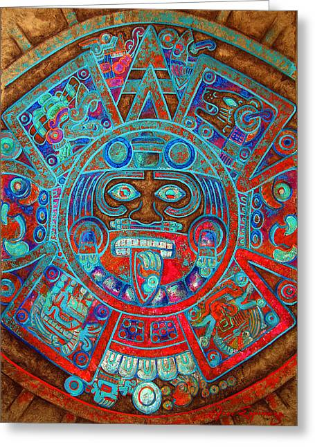 Amate Bark Paper Greeting Cards - Sun Stone Greeting Card by Jose Espinoza