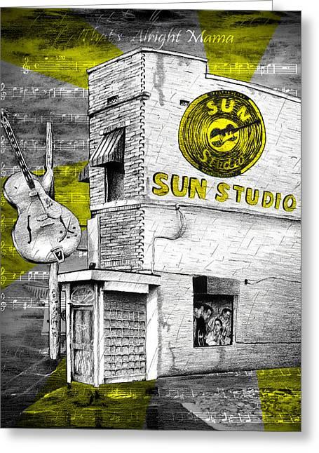 Rocks Drawings Greeting Cards - Sun Studio Greeting Card by Quinton Batten