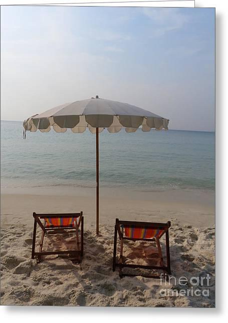 Recliner Greeting Cards - Sun Tanning Recliners, Thailand Greeting Card by Jan Halaska
