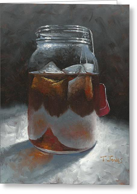 Mason Jars Greeting Cards - Sun Tea Greeting Card by Timothy Jones