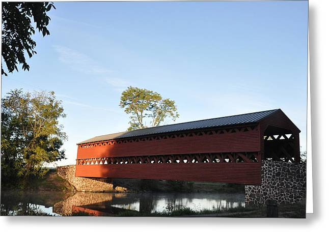 Sun Up at Sachs Covered Bridge Greeting Card by Bill Cannon