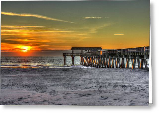 On The Beach Greeting Cards - Sun Up Reflections On Tybee Island Pier Greeting Card by Reid Callaway