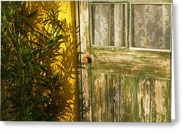 Sunlit Door Greeting Cards - Sun Warmed and Weathered Greeting Card by Bel Menpes