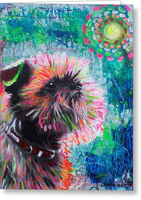 Puppies Mixed Media Greeting Cards - Sun Worshiper Greeting Card by Suzanne Allen