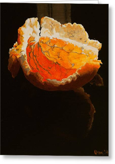 Tangerine Greeting Cards - Sunbathing Clementine Greeting Card by Lissa Banks