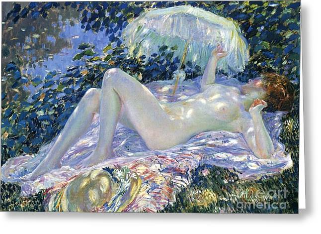 Bask Greeting Cards - Sunbathing Greeting Card by Frederick Carl Frieseke