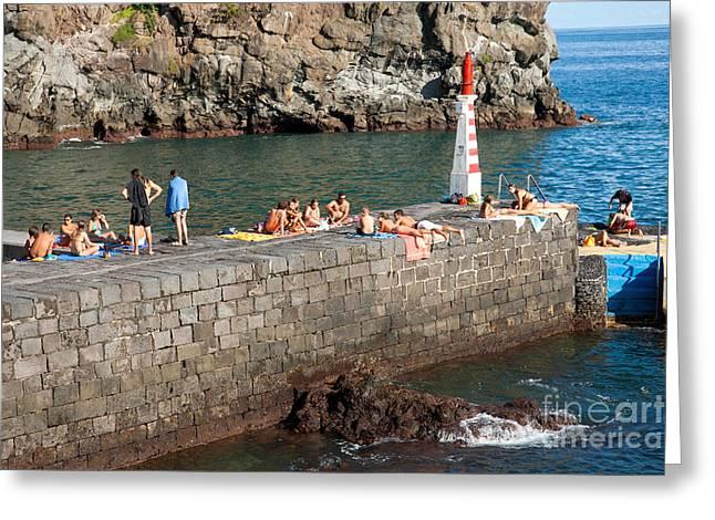 Sunbathing Greeting Cards - Sunbathing in Azores Greeting Card by Gaspar Avila