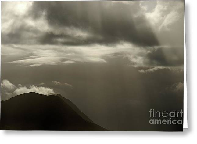Tranquil Scene Escapism Greeting Cards - Sunbeams on mountains by cloudy day Greeting Card by Sami Sarkis