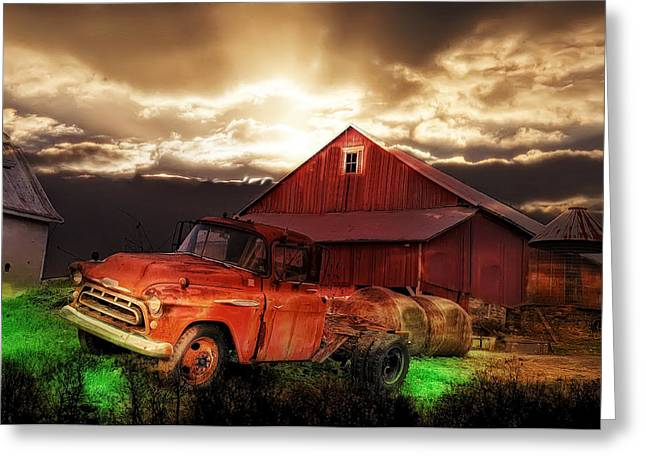 Truck Digital Greeting Cards - Sunburst at the Farm Greeting Card by Bill Cannon