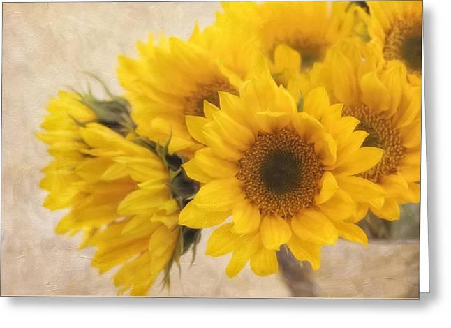 Yellow Sunflower Greeting Cards - Sunburst Greeting Card by Kim Hojnacki