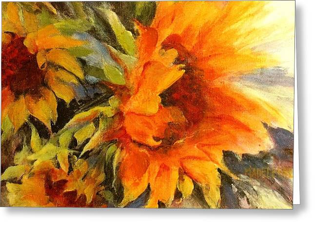 Yellow Sunflower Greeting Cards - Sunburst Greeting Card by Madeleine Holzberg