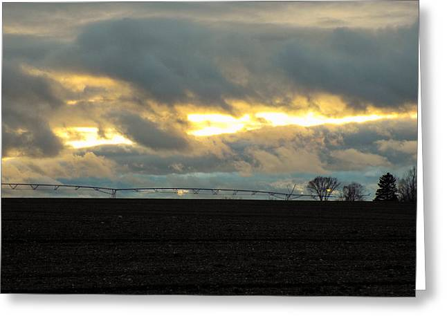 Maine Farms Greeting Cards - Sunburst on a Rainy Day Greeting Card by William Tasker