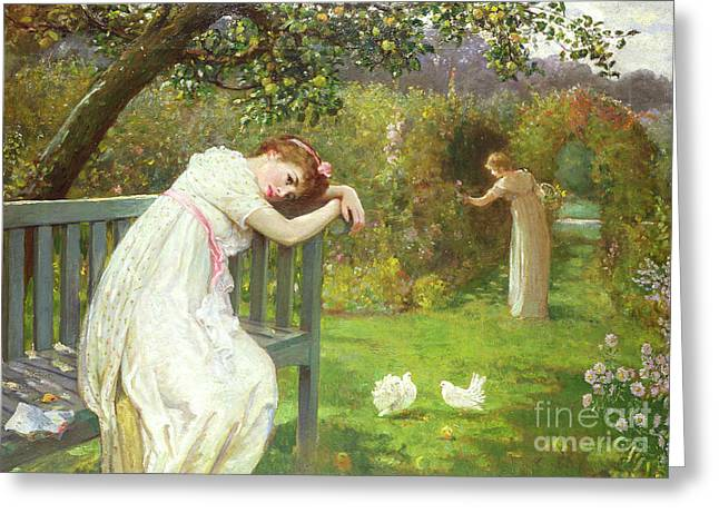 In Trouble Greeting Cards - Sunday Afternoon - Ladies in a Garden Greeting Card by English School