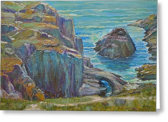 Big Sur Greeting Cards - Sunday Afternoon at Rocky Cove Greeting Card by Verlaine Crawford