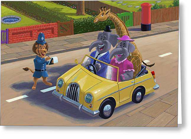 Police Cartoon Greeting Cards - Sunday Afternoon Drive Greeting Card by Martin Davey
