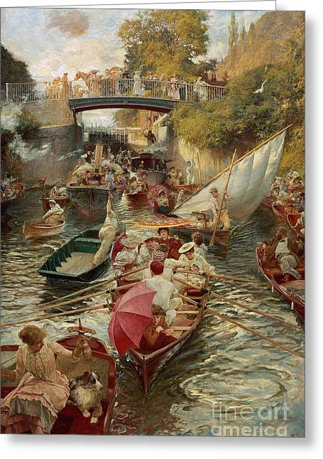 Rowers Paintings Greeting Cards - Sunday Afternoon Greeting Card by Edward John Gregory