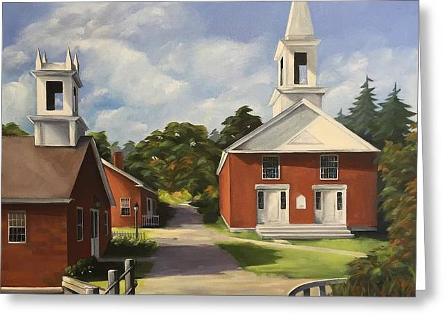 New England Village Paintings Greeting Cards - Sunday Afternoon Harrisville NH Greeting Card by Anne Ward
