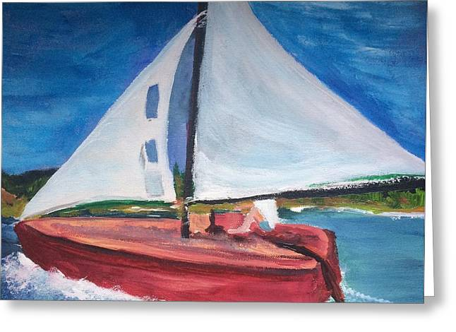 Blue Sailboats Greeting Cards - Sunday Afternoon  Greeting Card by Kimberly Balentine