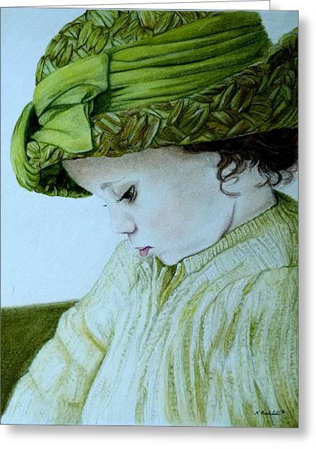 Straw Hat Drawings Greeting Cards - Sunday Best Greeting Card by Kristen Fisk