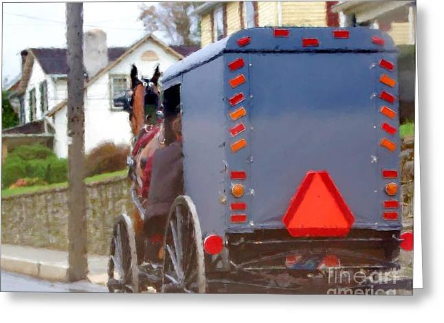 Amish Buggy Greeting Cards - Sunday Courting Greeting Card by Debbi Granruth