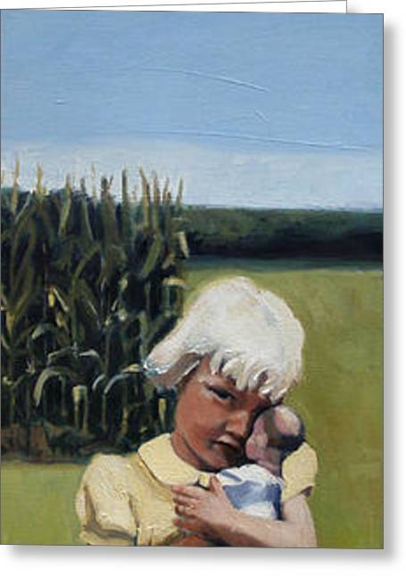 Cornfield Paintings Greeting Cards - Sunday Greeting Card by Deb Putnam