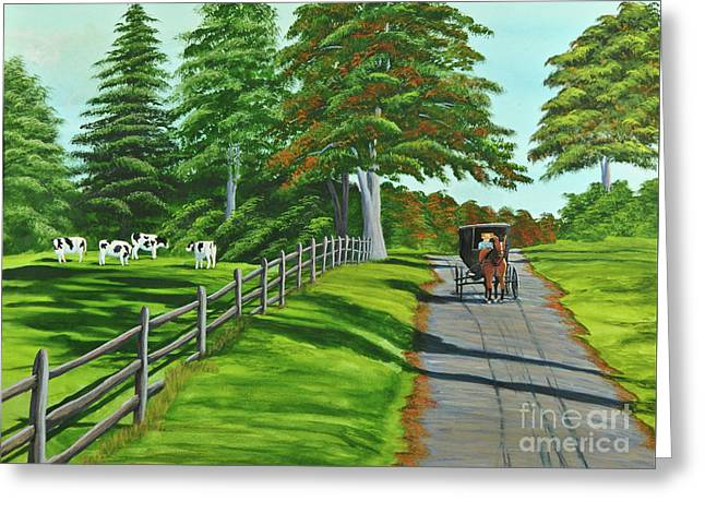Horse And Buggy Paintings Greeting Cards - Sunday Drive Greeting Card by Charlotte Blanchard