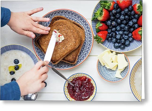 Sunday Family Breakfast Greeting Card by Anna Denisova