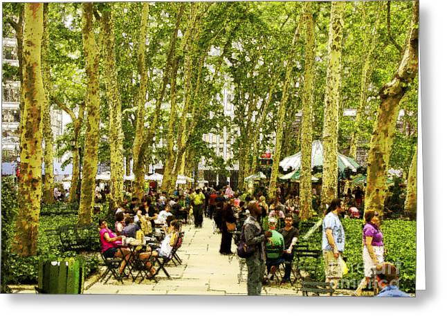 Sunday In Bryant Park Greeting Card by Phil Welsher
