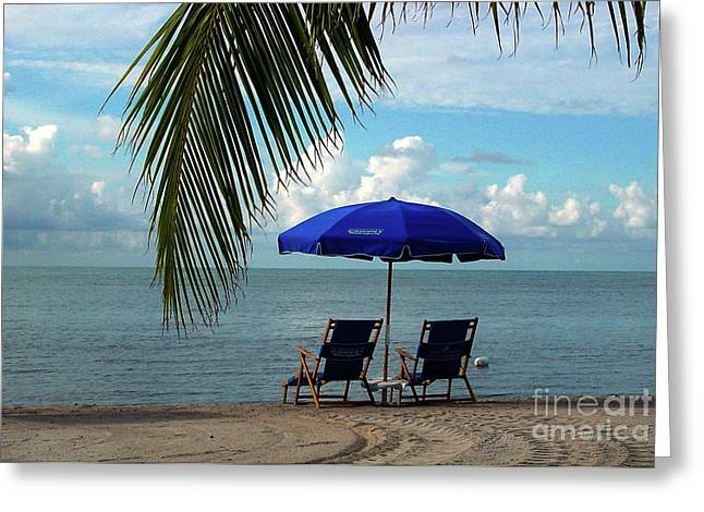 Beach Umbrellas Greeting Cards - Sunday Morning at the Beach in Key West Greeting Card by Susanne Van Hulst