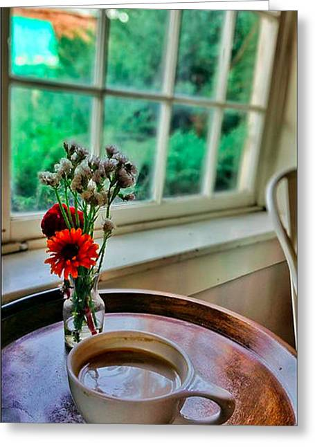 Table Greeting Cards - Sunday Morning Coffee Greeting Card by Sally Cooper