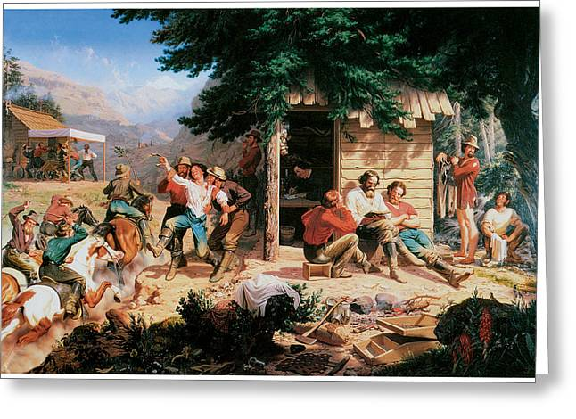 Charles Nahl Greeting Cards - Sunday Morning in the Mines Greeting Card by Charles Christian Nahl
