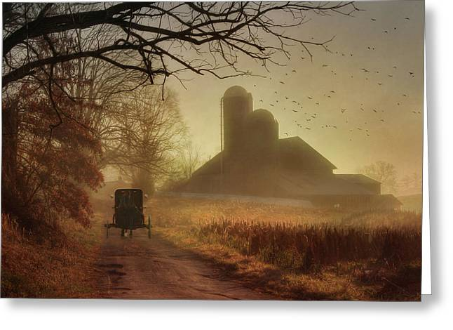 Countryside Digital Greeting Cards - Sunday Morning Greeting Card by Lori Deiter