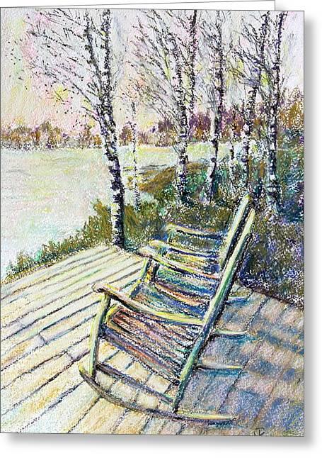Rocking Chairs Pastels Greeting Cards - Sunday Morning Greeting Card by Nina Tyksinski