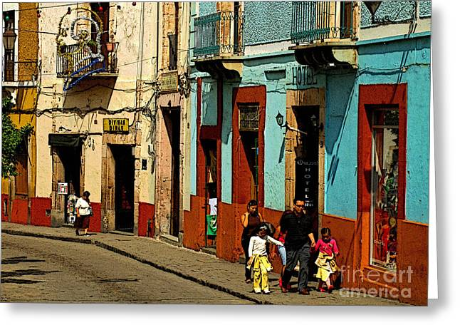 Sunday Morning Stroll Greeting Card by Olden Mexico