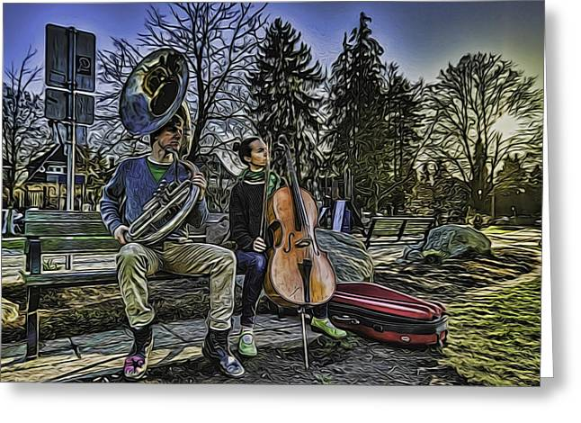 Chello Greeting Cards - Sunday Musicians Greeting Card by Chris Van Edig