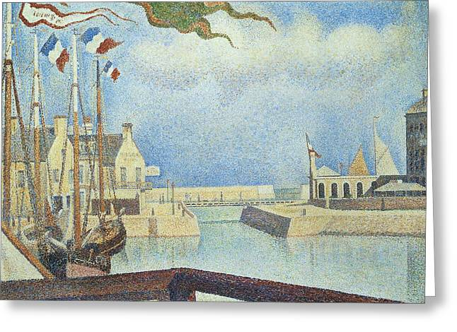 Technique Paintings Greeting Cards - Sunday  Port-en-Bessin Greeting Card by Georges Pierre Seurat