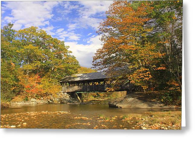 Sunday River Covered Bridge Greeting Card by John Burk