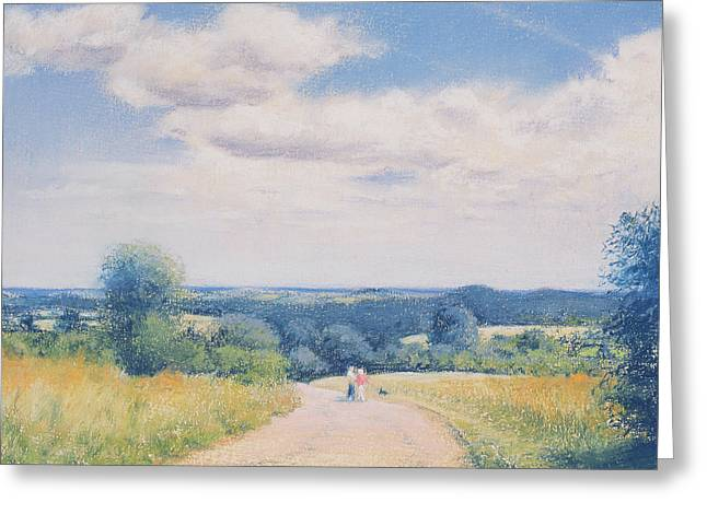 Horizon Pastels Greeting Cards - Sunday Stroll Greeting Card by Anthony Rule