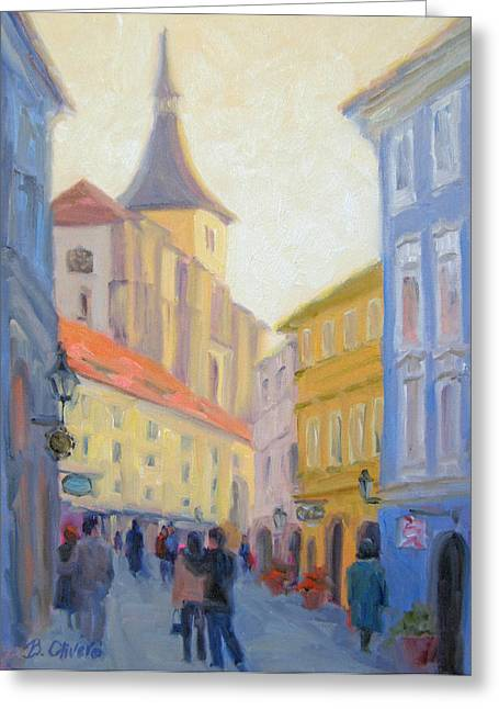 Prague Paintings Greeting Cards - Sunday Stroll - Prague Greeting Card by Bunny Oliver