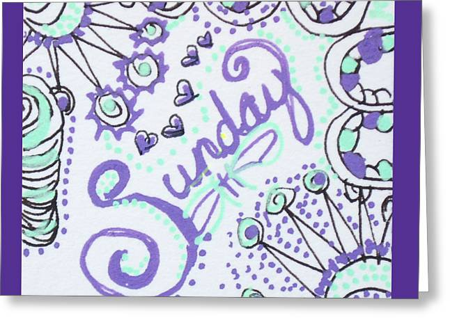 Pen And Ink Drawing Greeting Cards - Sunday Greeting Card by The Sandwich  Woman