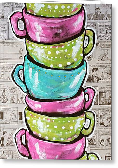 White Cloth Greeting Cards - Sundays Cup A Joe Pink Greeting Card by Jackie Carpenter