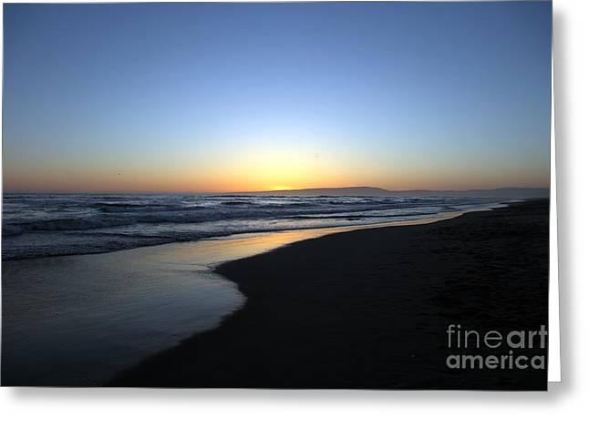Calms Prints Greeting Cards - Sunet Beach Greeting Card by Amanda Barcon